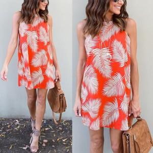 Mini šift haljina s motivom listova