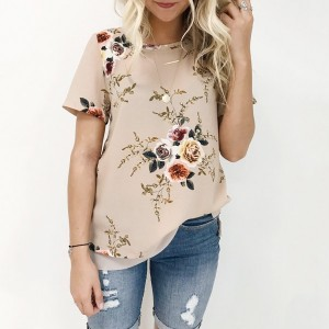 Kratka cvjetna bluza od šifona