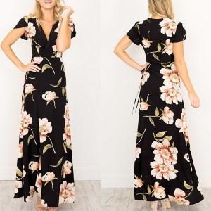 Maxi cvjetna haljina kratkih rukava na preklop
