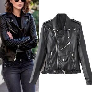Kratka motoristička jakna od umjetne kože