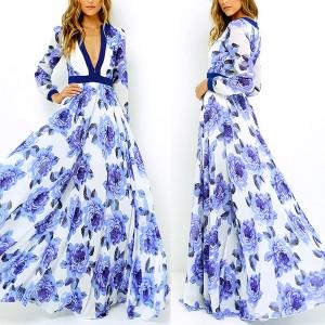 Maxi cvjetna plava haljina dubokog v izreza