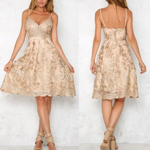 Midi haljina sa zlatnim uvezom