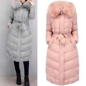 Duga zimska jakna s krznom i pomponima