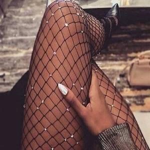 Široko mrežaste najlonke s kristalima
