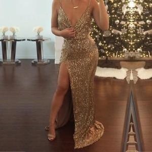 Duga svečana haljina sa zlatnim šljokicama