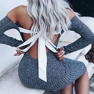Mini haljina otvorenih ramena s mašnom na leđima
