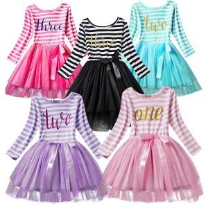Prugasta haljina od tila za djevojčice