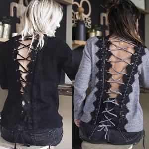Majica s čipkanim korzetom na leđima