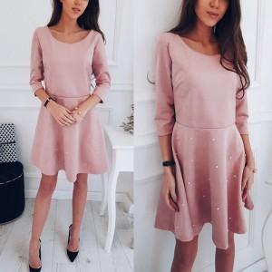 Mini rozasta haljina s biserima