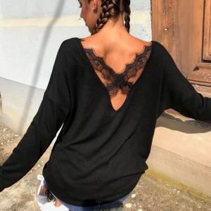 Majica dugih rukava s ukriženom čipkom na leđima
