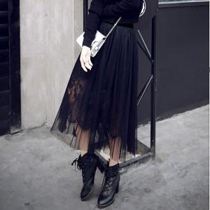 Midi čipkana suknja elastičnog struka