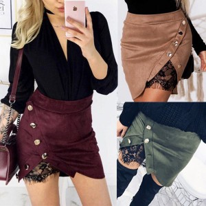 Mini suknja izgleda brušene kože s čipkom