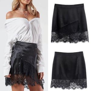Mini kožna suknja s čipkom