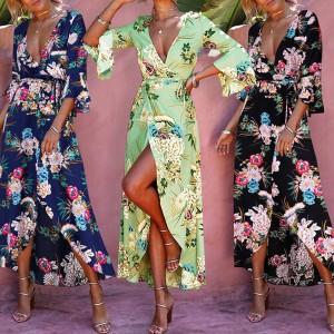 Boho cvjetna kimono zamotana haljina