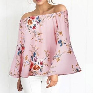 Cvjetna reljefasta bluza zvono rukava