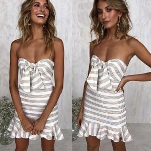 Mini prugasta haljina s mašnom sprijeda