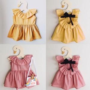 Haljina za djevojčice s mašnom na leđima