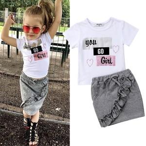 Komplet suknja s volanima + majica za djevojčice