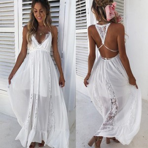Duga boho čipkana haljina za plažu