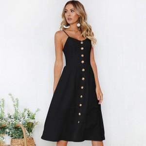 Midi jednobojna haljina na gumbe veličina XL
