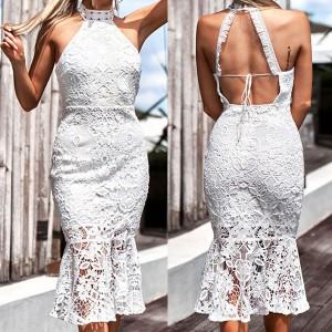 Čipkana svečana haljina otvorenih leđa
