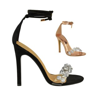 PVC sandale na petu s kristalima
