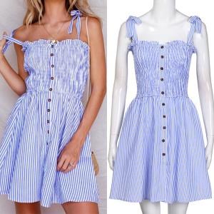 Mini prugasta haljina s mašnama