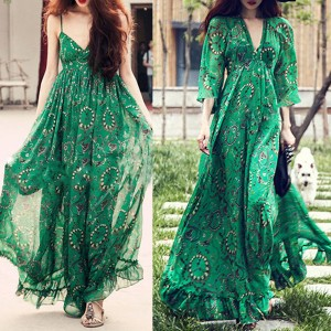 Duga vintage zelena haljina od šifona