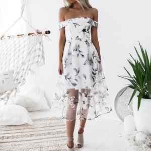 Svečana cvjetna haljina otvorenih ramena od tila