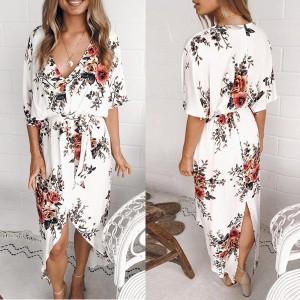 Midi cvjetna haljina s prorezom