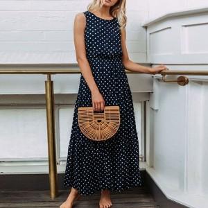Duga točkasta haljina bez rukava