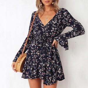 Mini cvjetna haljina zvono rukava