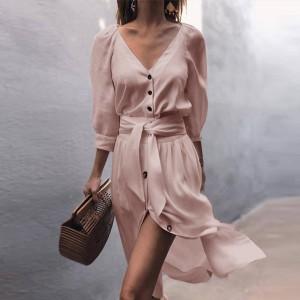 Midi haljina s dugmadi na V izrez
