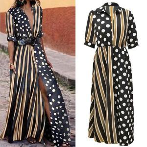 Duga košulja haljina s prugama i točkicama