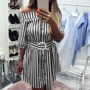 Mini prugasta haljina košulja s remenom