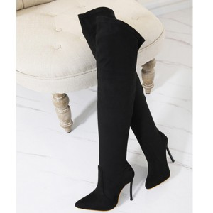 Visoke čizme iznad koljena izgleda brušene kože crna boja standardni EU 39