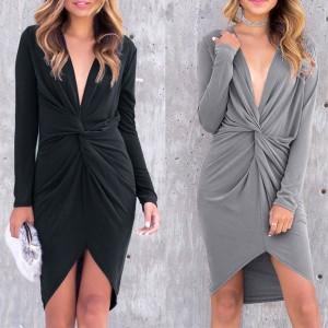 Midi asimetrična haljina sa čvorom