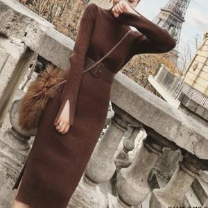 Midi rebrasta dolčevita haljina s remenom