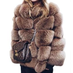 Luksuzna srednje duga bunda s ovratnikom