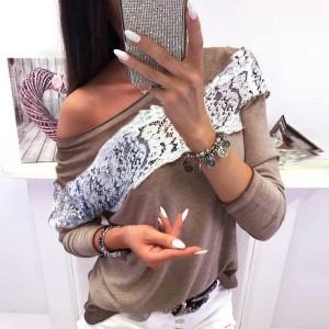 Majica dugih rukava s čipkom na prsima