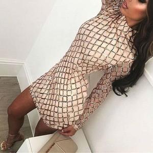 Mini haljina geometrijskog uzorka na šljokice