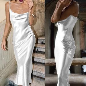 Duga svečana satenasta haljina na bretele standardni M