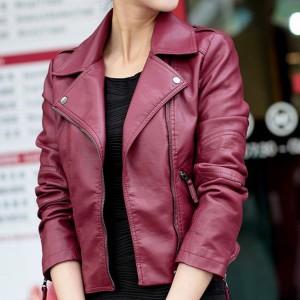 Kratka kožna jakna sa zipperima