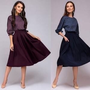 Vintage midi dvobojna haljina s točkicama