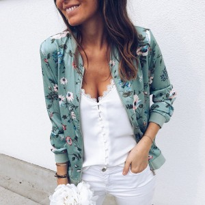 Lagana cvjetna zipper jakna