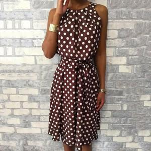 Mini točkasta haljina bez rukava