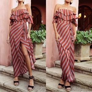 Duga pamučna haljina otvorenih ramena na pruge *limitirana kolekcija*