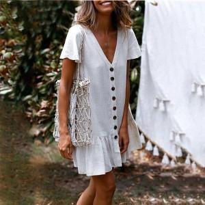 Mini lanena haljina s dugmadi *limitirana kolekcija*