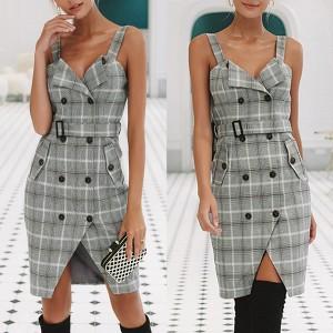 Mini karirana haljina s pojasom