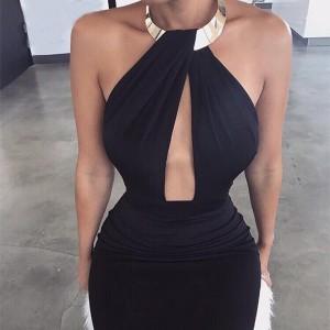 Midi haljina olovka kroja s ogrlicom